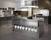 , Кухня с нержавеющей поверхностью